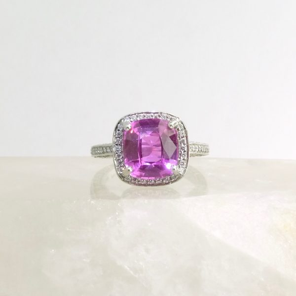 platinum ring with cushion pink sapphire and diamond
