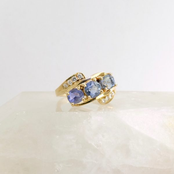 14k yellow gold ring with sapphires and diamonds