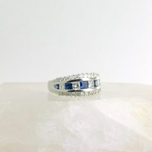 Platinum ring with sapphires and diamonds