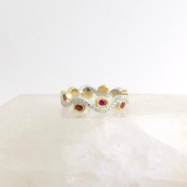 14k white and yellow gold ring with rubies and diamonds