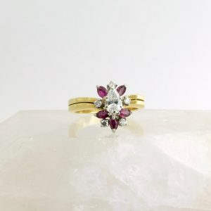 14k yellow gold ring with diamonds and rubies
