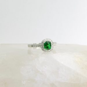 14k white gold ring with diamonds and tsavorite garnet