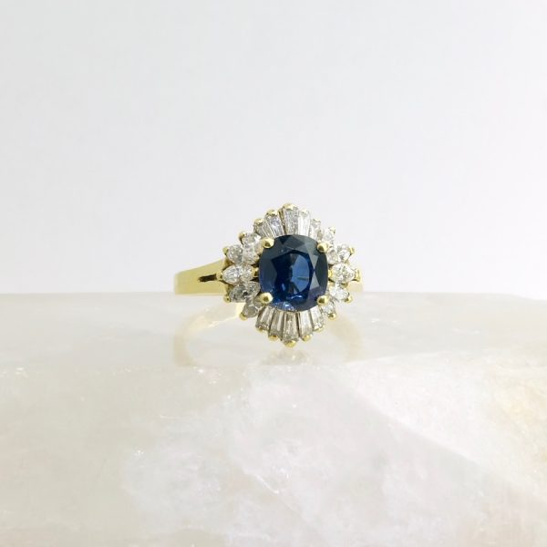 14k yellow gold ring with sapphire and diamonds