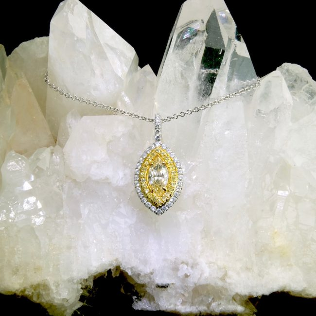 14k white and yellow gold marquise diamond pendant