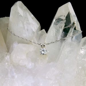 "14k white gold diamond pendant .33 ct on 18"" chain"