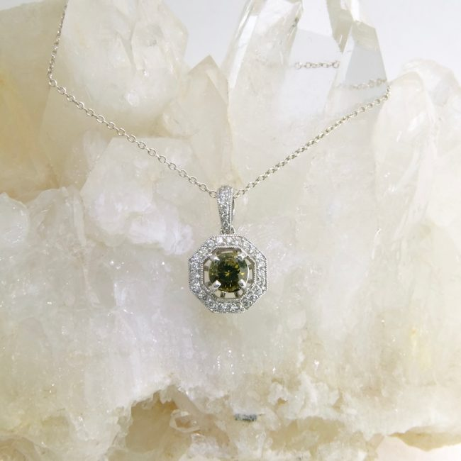 14k white gold pendant with demantoid garnet and diamonds