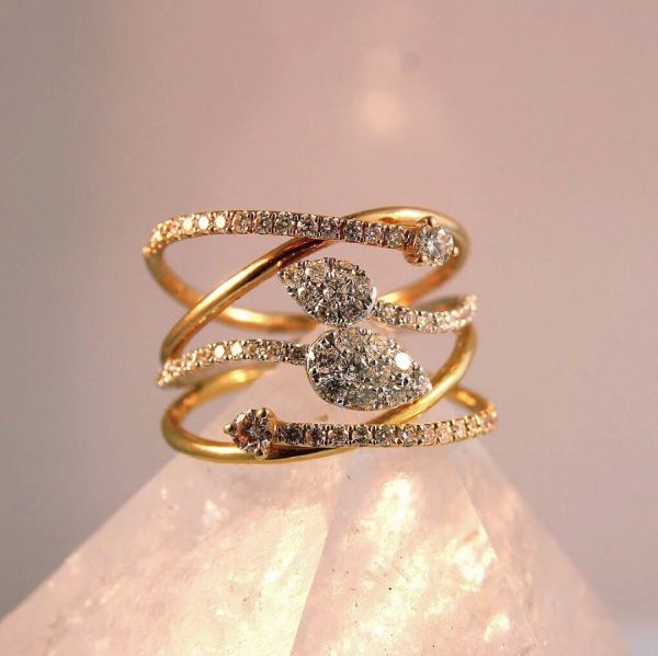 tri-tome diamond wrap ring