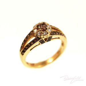 Chocolate and white diamond ring