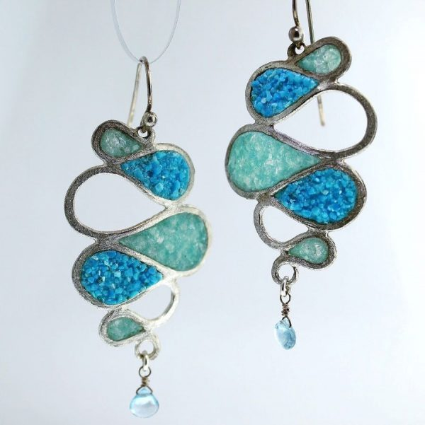 sterling silver earrings with crushed turquoise and aquamarine