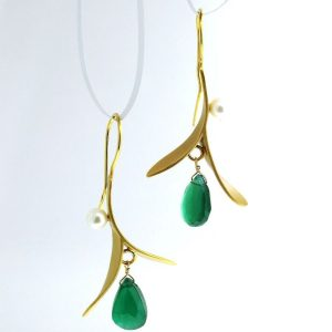 vermeil gold plated earrings with pearl and green onyx