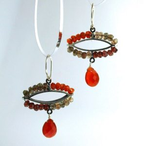 sterling silver earrings with garnet, carnelian, and androsite