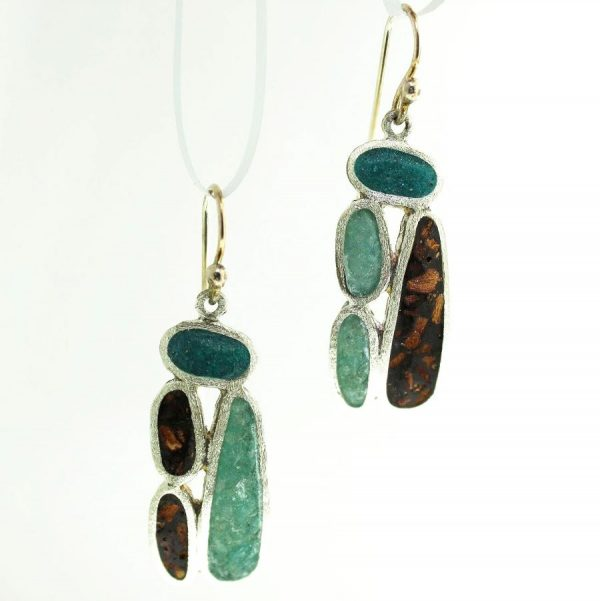 sterling silver earrings with crushed aquamarine