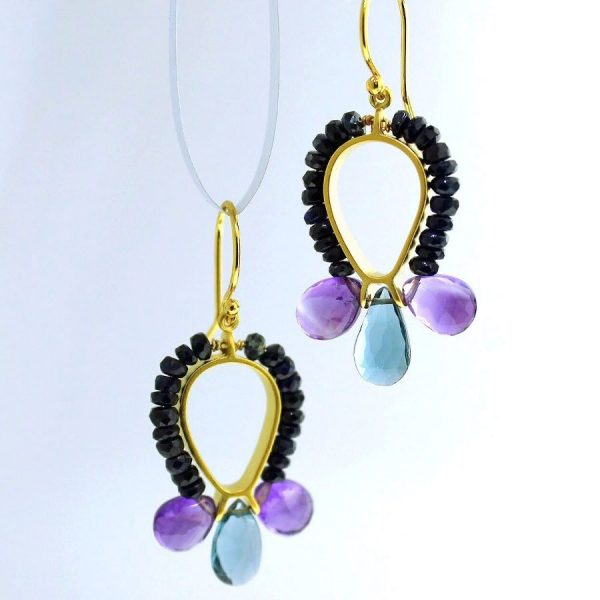 vermeil gold plated earrings with sapphire. amethyst, and london blue topaz