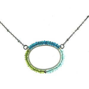 sterling silver necklace with peridot and blue topaz beads