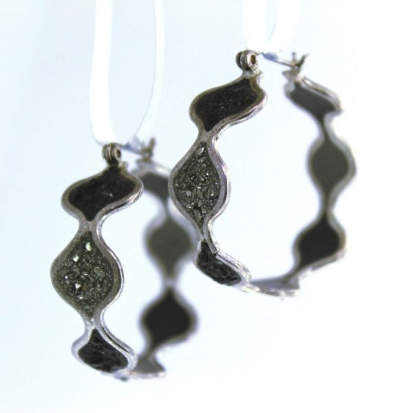 Sterling silver earrings with crushed pyrite