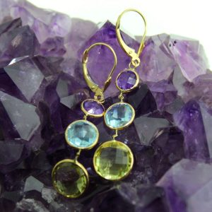 yellow gold earrings with amethyst, blue topaz, and peridot