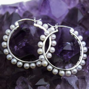 white gold pearl hoop earrings