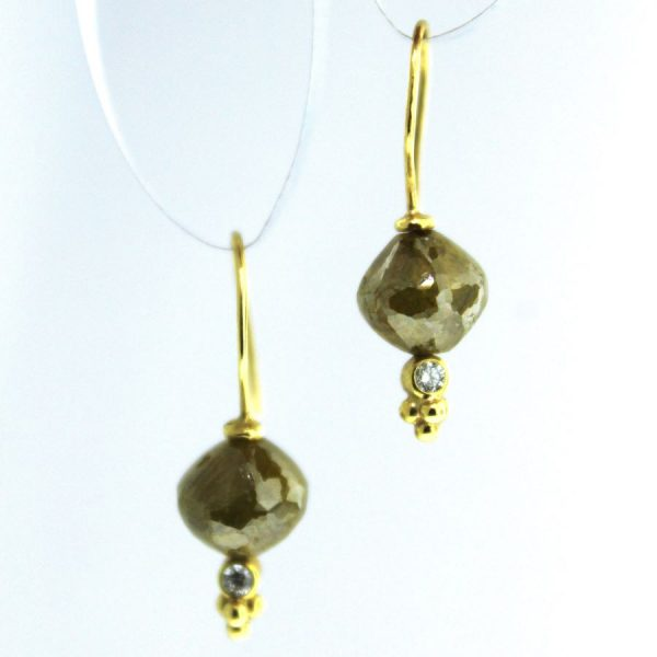 yellow gold natural colored diamond earrings
