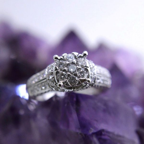 14k white gold cluster ring with 1.50 carat weight total diamonds
