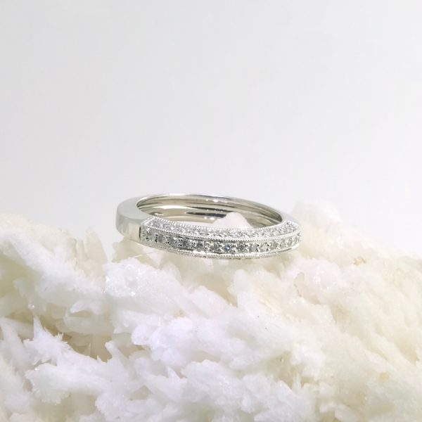 14k white gold band with pave set diamonds .30 cttw