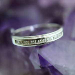 Wedding Band with 7 Channel Set Diamonds with Miligrain