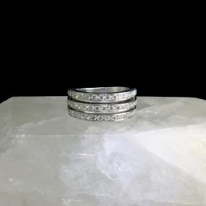 14k white gold ring with 57 diamonds .42 cttw