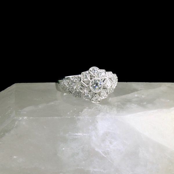 14k white gold ring with diamonds, .69 cttw