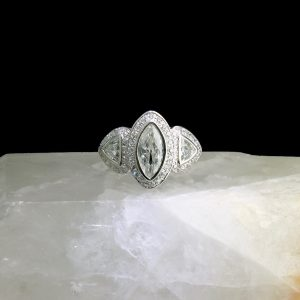 Palladium ring with 1.4 ct marquise diamonds and accent diamonds