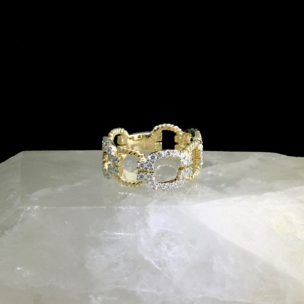 14k yellow gold chain ring with diamonds .81 cttw