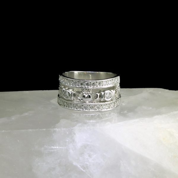 platinum ring with claddagh and diamonds
