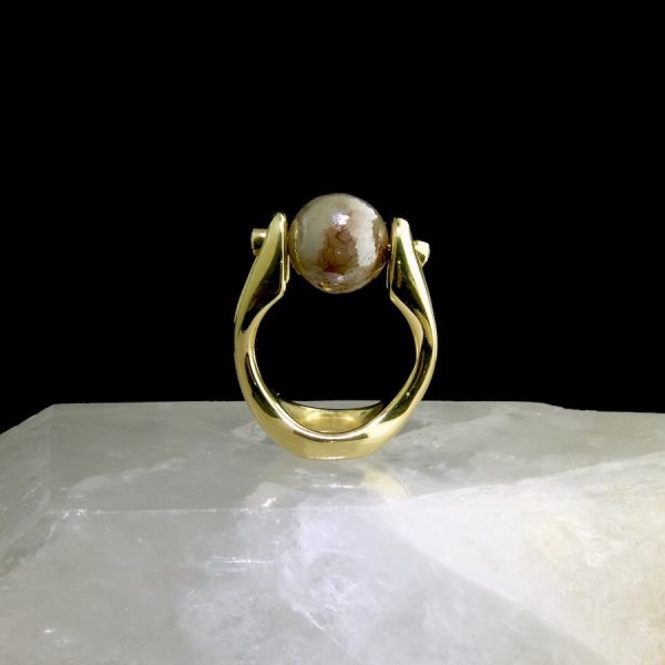 18k yellow gold ring with 1.67 ct natural color diamond ball and white accent diamonds