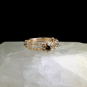 14k rose gold chain ring with .9 ct chocolate diamond