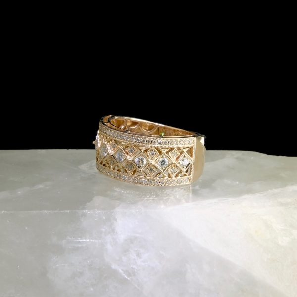 14k rose gold ring with 73 diamonds .48 cttw