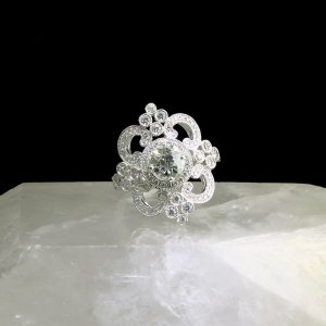 14k white gold ring with 1.0 ct center diamond and accent diamonds