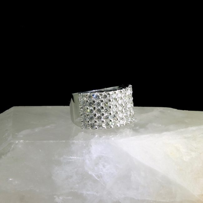 14k white gold ring with 50 pavé set diamonds, 2.55 cttw