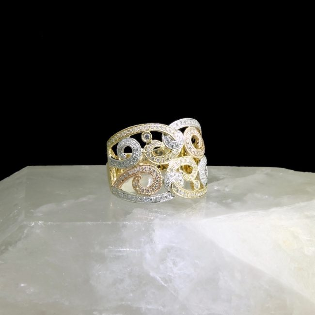 14k three tone gold ring with 164 diamonds .74 cttw