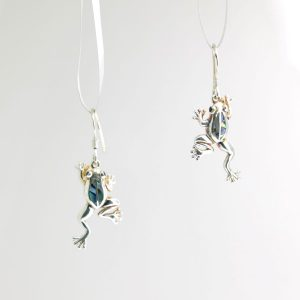 Sterling Silver Frog Earrings with Abalone