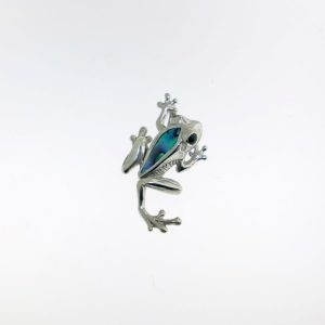 Sterling Silver frog Pendant Abalone