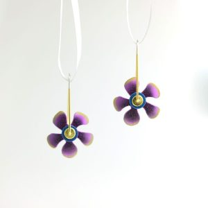 Niobium, Vermeil, and Sterling Silver Flower Earrings