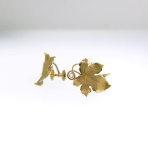 14 Karat Yellow Gold Grape Leaf Clip Earrings
