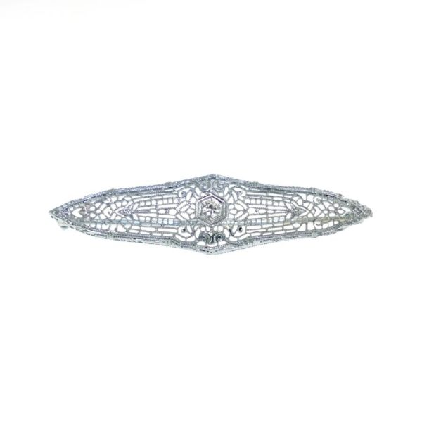 14 Karat White Gold Filigree Bar Pin with Diamonds, 0.08 Carat Total Weight