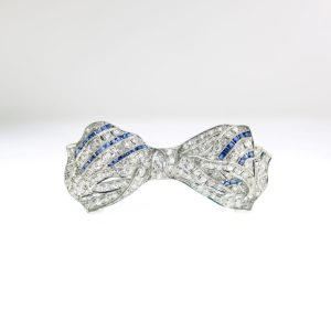 Platinum Bow Brooch with Sapphires and Diamonds