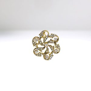 Yellow Gold Brooch with Seed Pearls and Diamonds