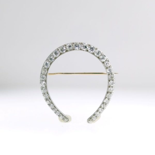 White Gold and Platinum Pin with Diamonds