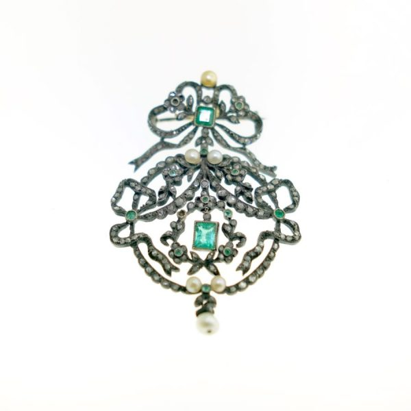 Sterling Silver Over Gold Brooch with Emerald, Pearls, and Diamonds; Antique