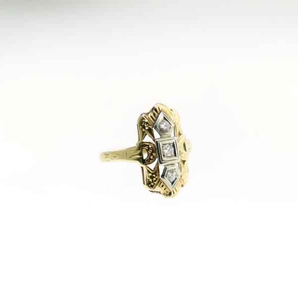 Yellow and White Gold Vintage Ring with Diamonds