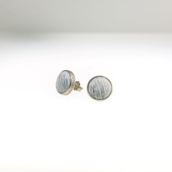 Sterling Silver Enameled Post Earrings with Grass Motif