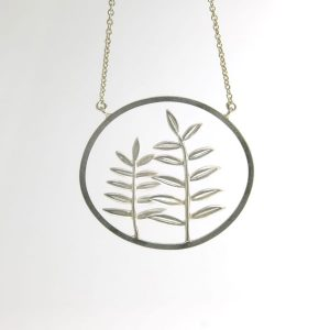 Sterling Silver Framed Fern Pendant