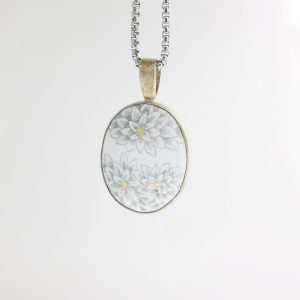 Sterling Silver Enameled Oval Pendant with Mum Motif