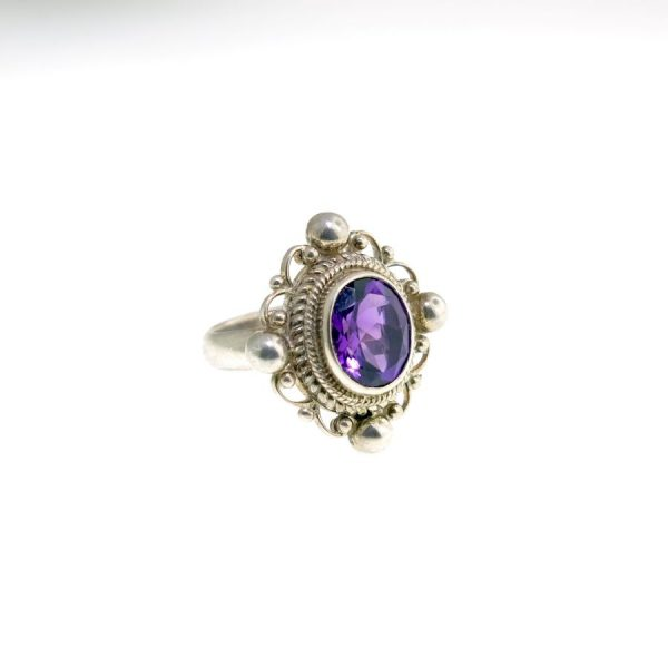 Sterling Silver Ring with Large Amethyst